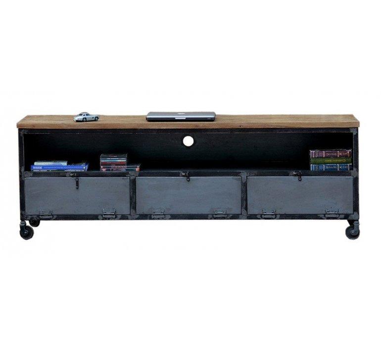 Banc TV métal et bois sur roulettes industriel HARLEM