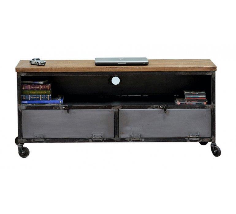 Meuble TV métal et bois sur roulettes industriel HARLEM