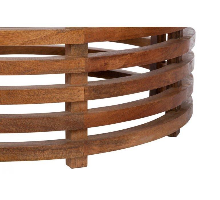 Table de salon ronde en bois et verre style asiatique ZEN