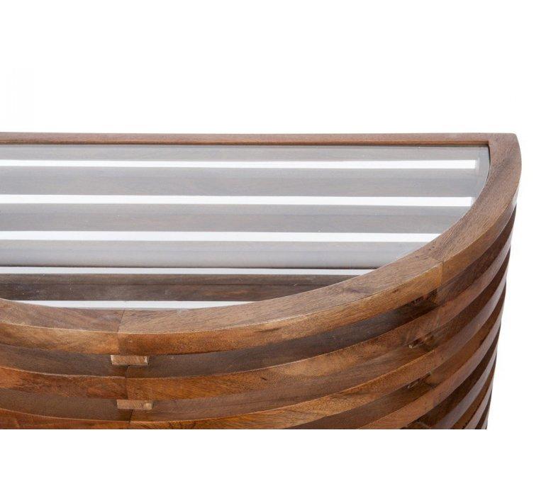 Console demi lune bois et verre style asiatique ZEN