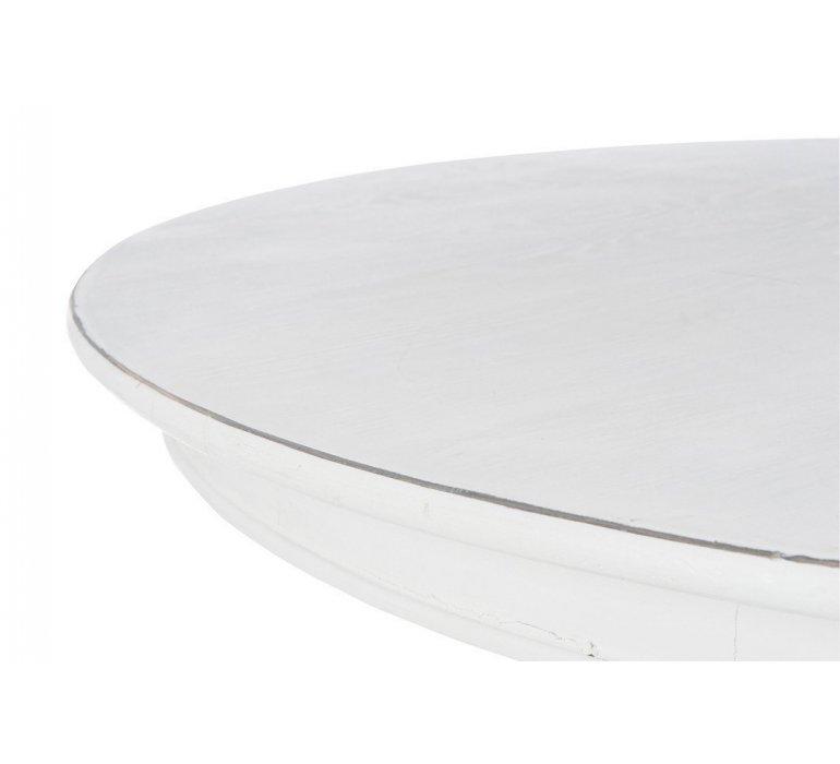 Table à manger ronde bois crème style charme AUGUSTINE