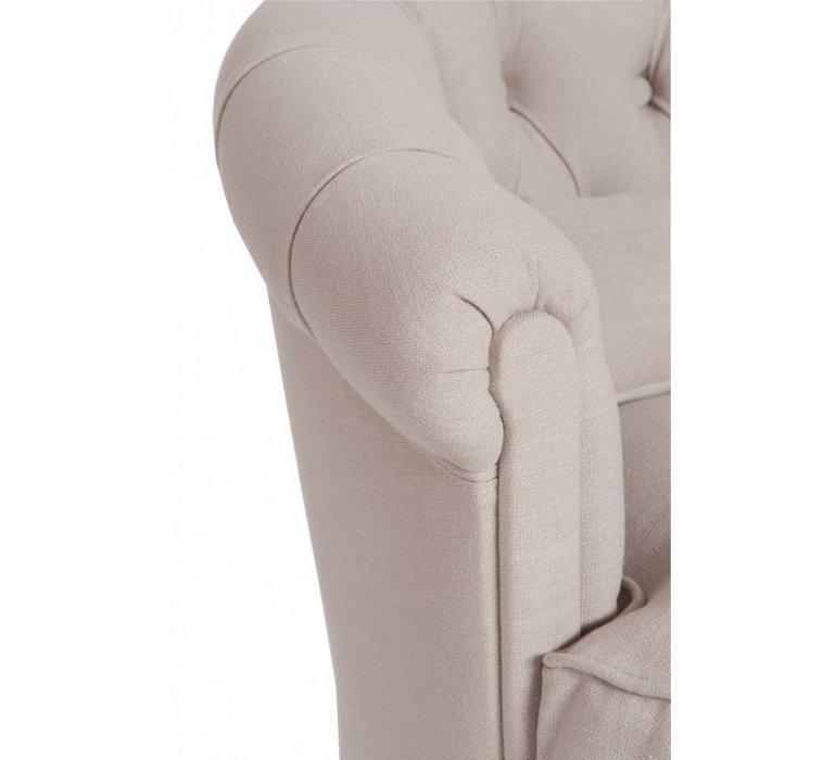 Fauteuil cuve tissu beige capitonné style charme KATHLEEN
