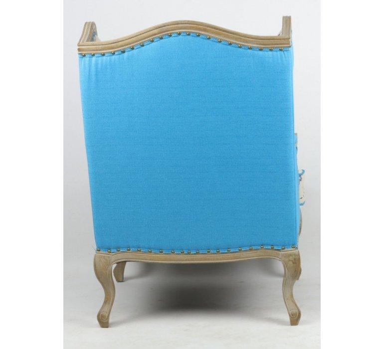 Fauteuil bergère tissu beige et bleu THERY