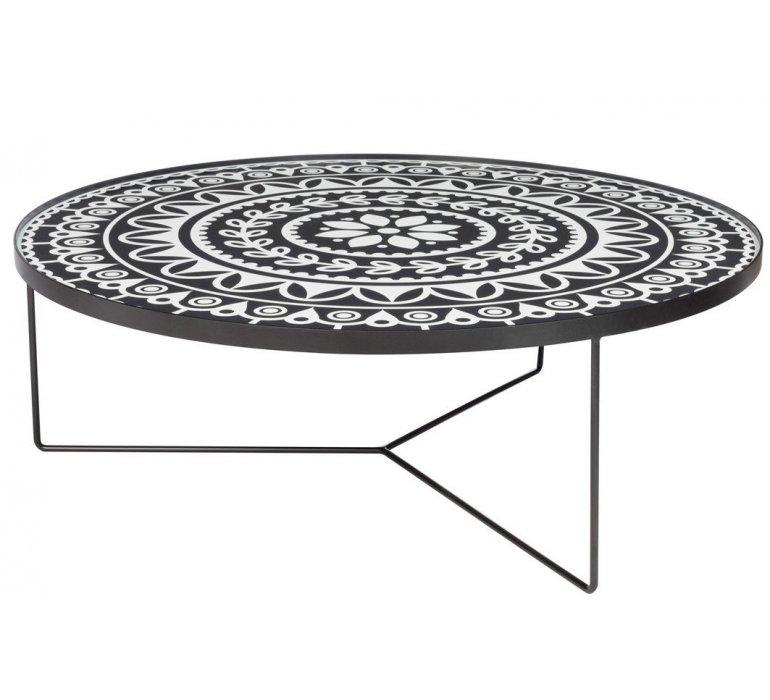 Table de salon ronde en métal style oriental TANGER