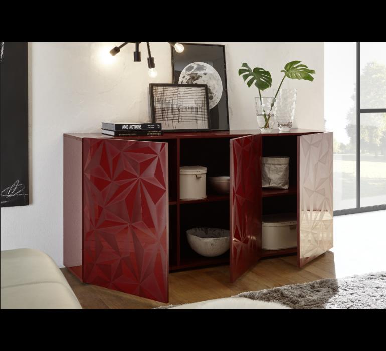 Buffet rouge design avec effet prisme RUBIS