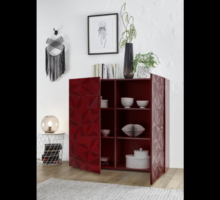 Buffet haut design rouge avec effet prisme RUBIS