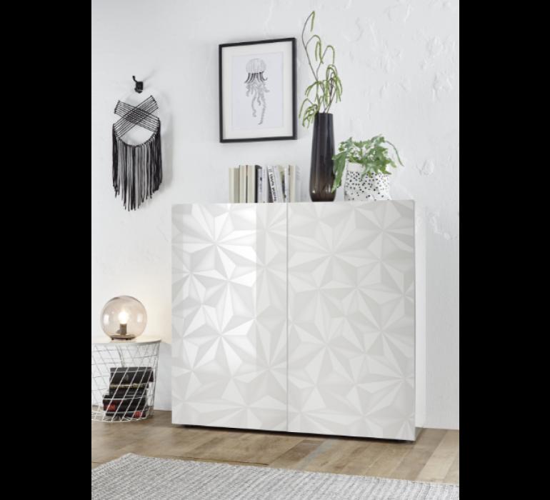 Buffet haut design blanc avec effet prisme DIAMOND