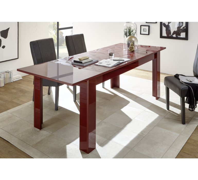 Table à manger rouge design avec effet prisme RUBIS