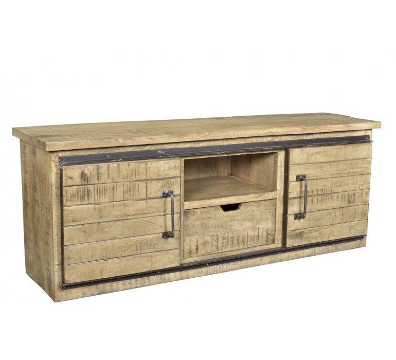 banc tv industriel bois et metal loft