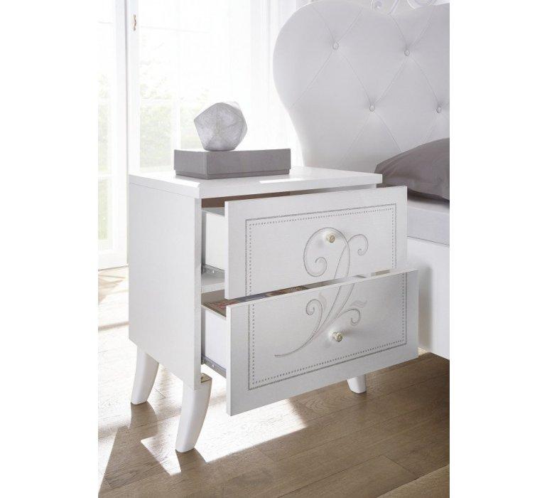 Chevet blanc laqué moderne QUEEN