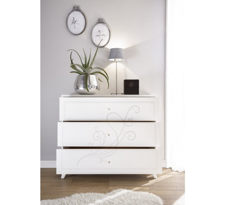 Commode blanc laqué moderne QUEEN