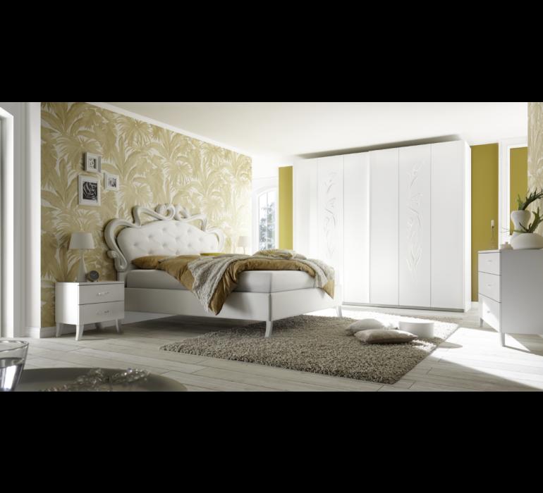 Chambre à coucher blanc laqué moderne ROYALE