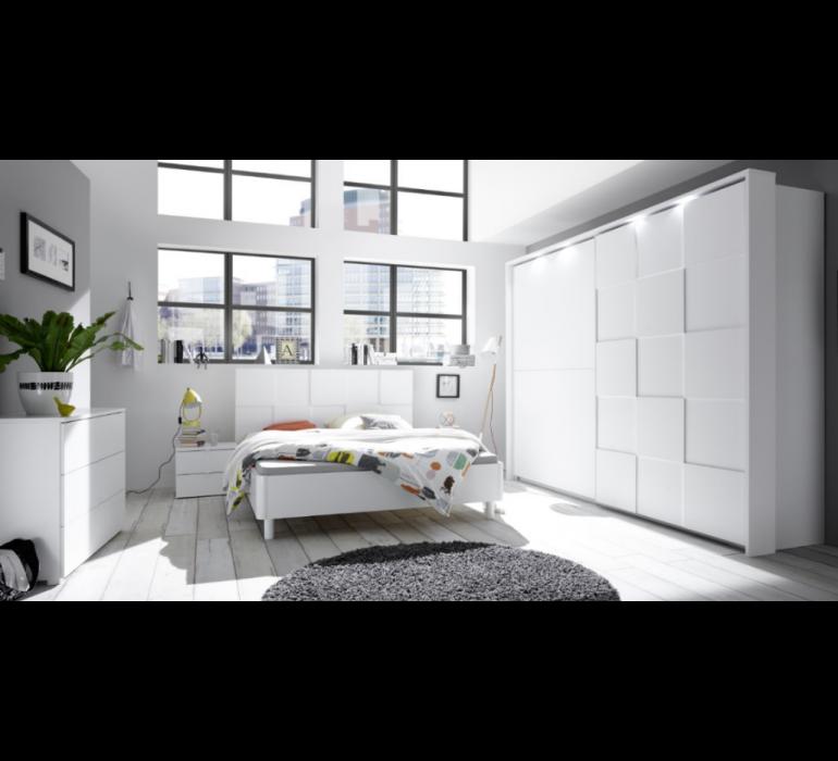 Lit blanc laqué design LAZIO