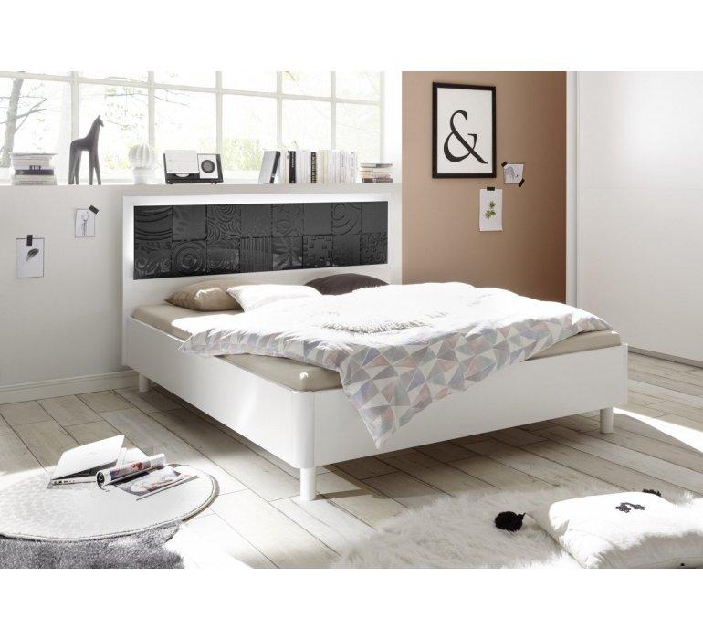 Lit design blanc et anthracite laqué avec motifs MARANELLO