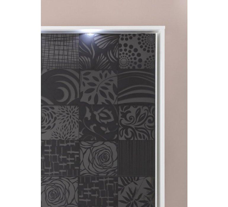 Armoire design blanc et anthracite laqué avec motifs MARANELLO