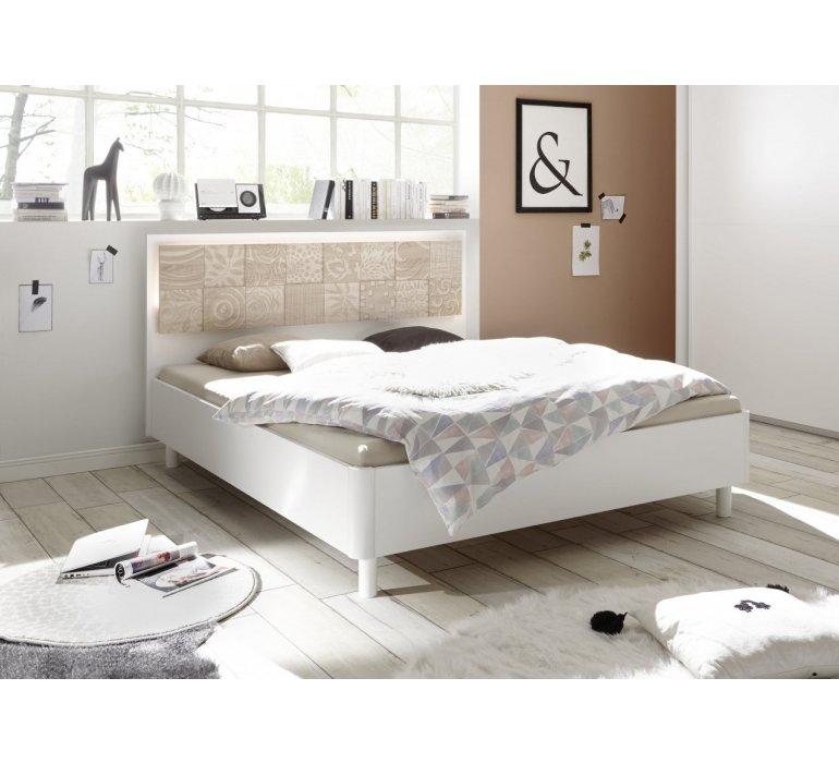 Lit blanc et beige avec motifs moderne NATURA