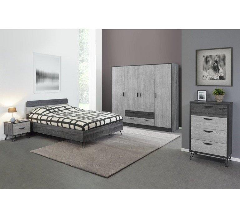 Chambre à coucher scandinave gris clair et anthracite ARHUS