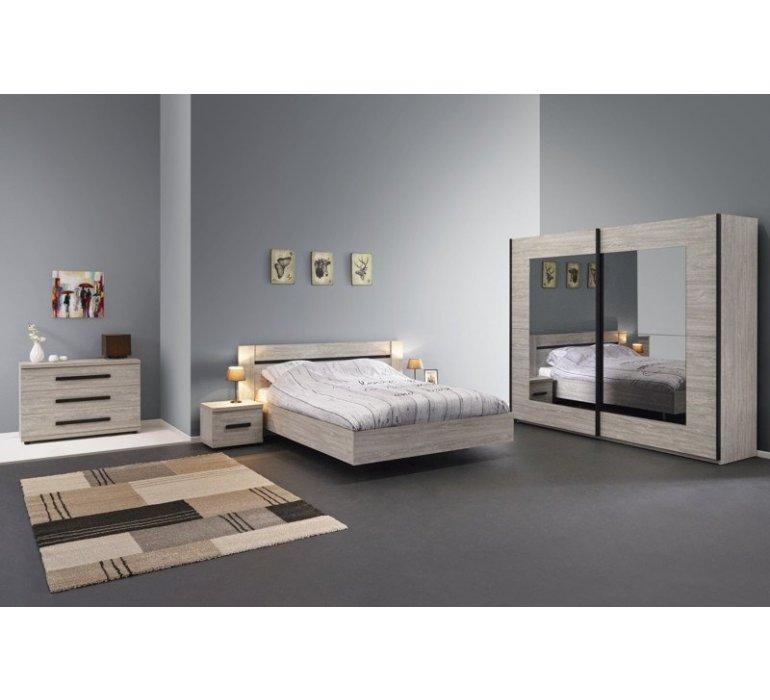 Chambre à coucher chêne gris et anthracite contemporain MELVIN