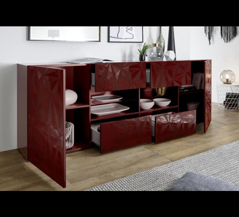Enfilade design rouge avec effet prisme RUBIS