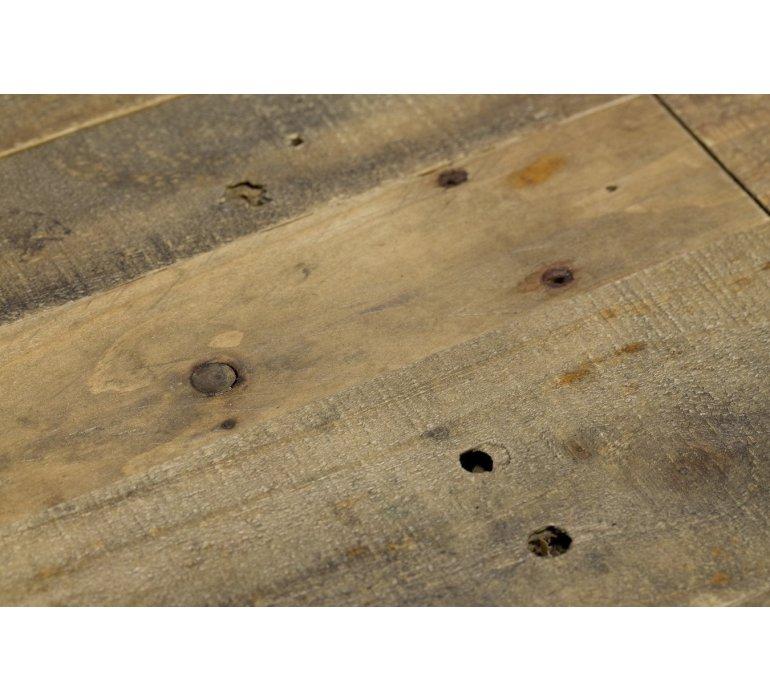 Table ronde industriel bois massif BROOKLYN