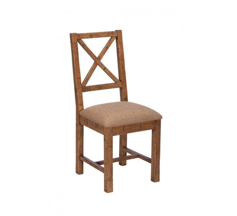 Chaise industrielle bois massif et tissu BROOKLYN