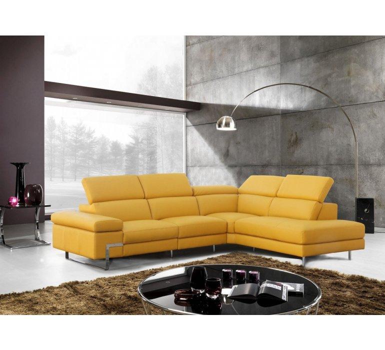 Canapé d'angle cuir jaune design YELLOW
