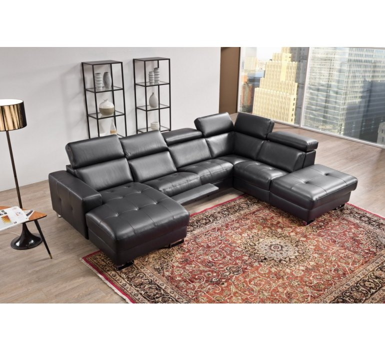 Canapé d'angle cuir noir design MYSTERE