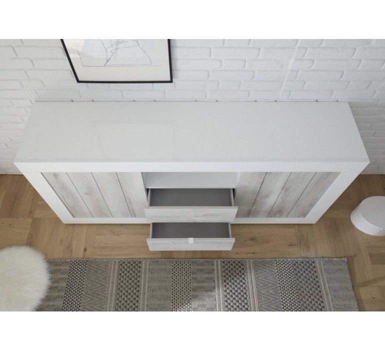 Enfilade moderne blanc laqué et bois gris clair SAN REMO