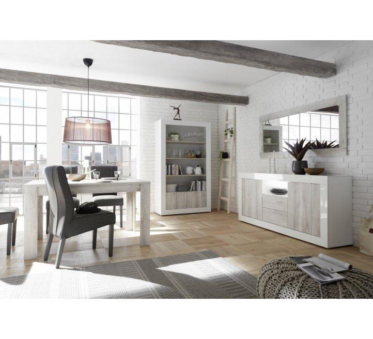 Vaisselier blanc laqué et bois gris clair moderne SAN REMO
