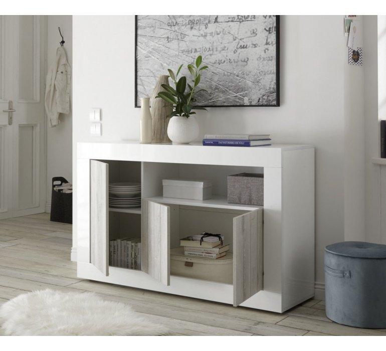 Bahut moderne blanc laqué et bois gris clair SAN REMO