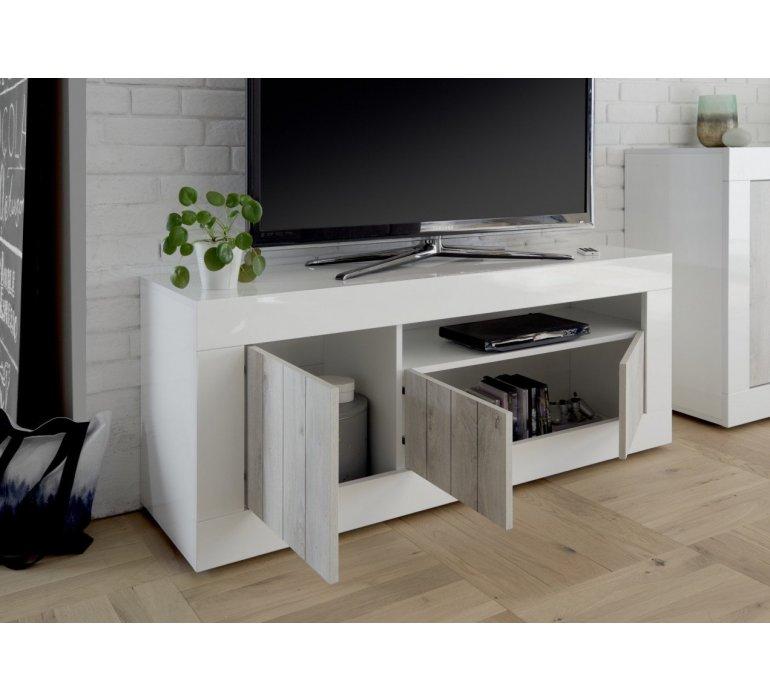 Banc TV blanc laqué et bois gris clair moderne SAN REMO