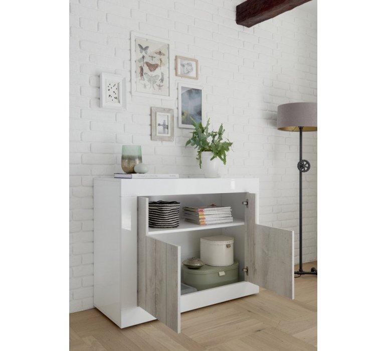 Buffet moderne blanc laqué et bois gris clair SAN REMO