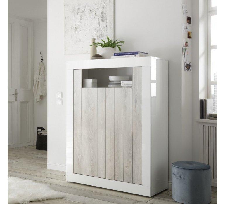 Buffet haut moderne blanc laqué et bois gris clair SAN REMO