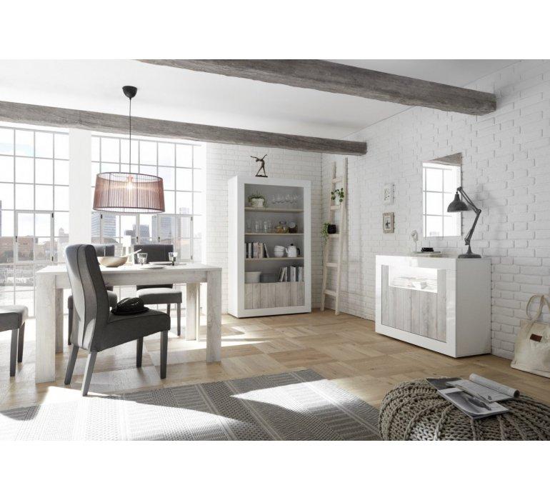 Bibliothéque blanc laqué et bois gris clair moderne SAN REMO
