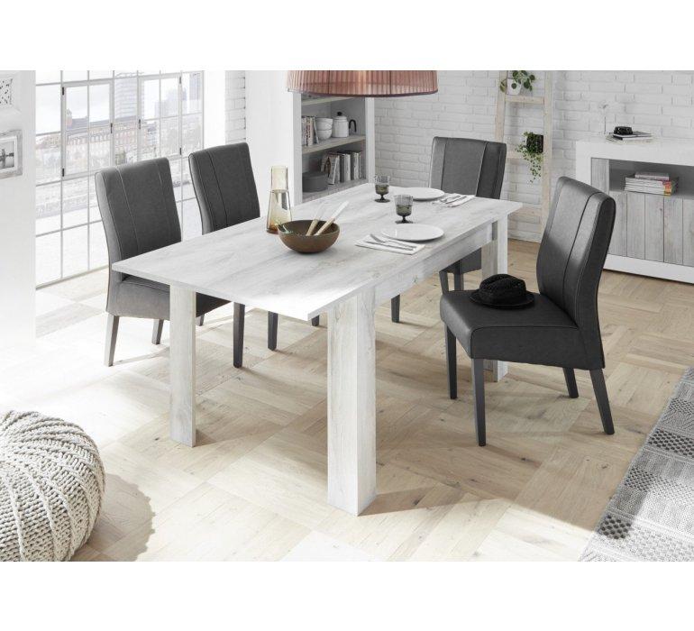 Salle à manger blanc laqué et bois gris clair moderne SAN REMO