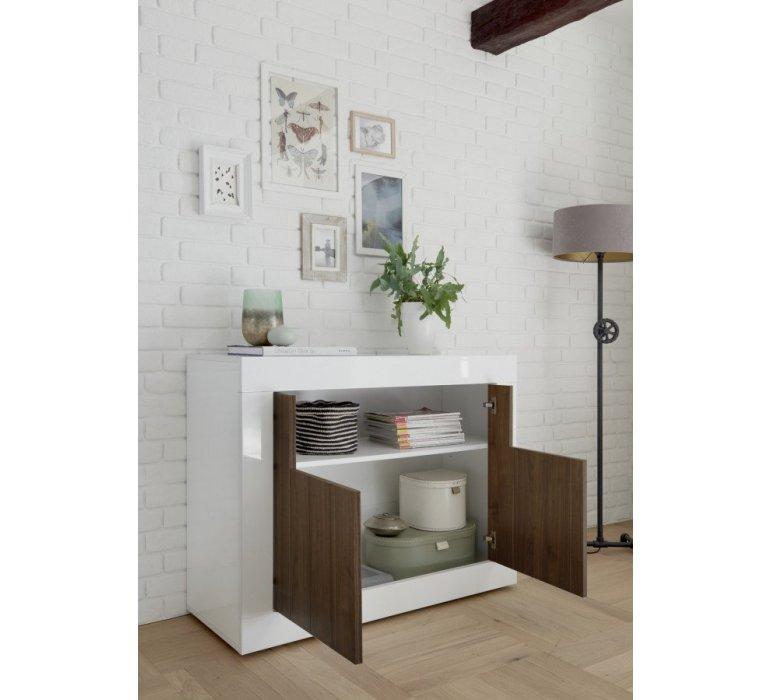 Buffet moderne blanc laqué et bois coloris noyer NAPOLI