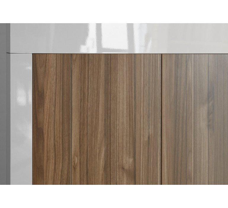 Buffet haut moderne blanc laqué et bois coloris noyer NAPOLI