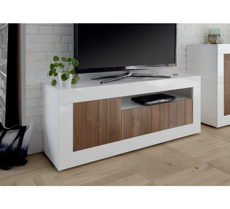 Banc TV blanc laqué et bois coloris noyer moderne NAPOLI