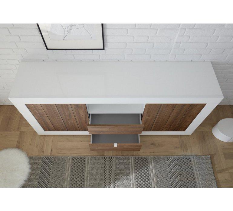 Salle à manger blanc laqué et bois coloris noyer moderne NAPOLI