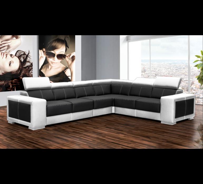 Canapé d'angle PU noir et blanc design LAZIO