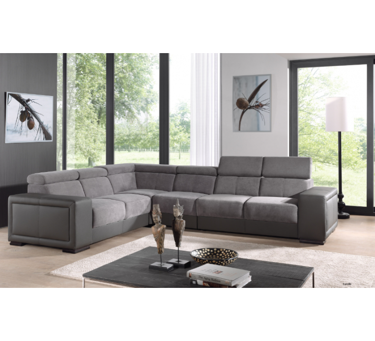 Canapé d'angle tissu et PU gris moderne GREY