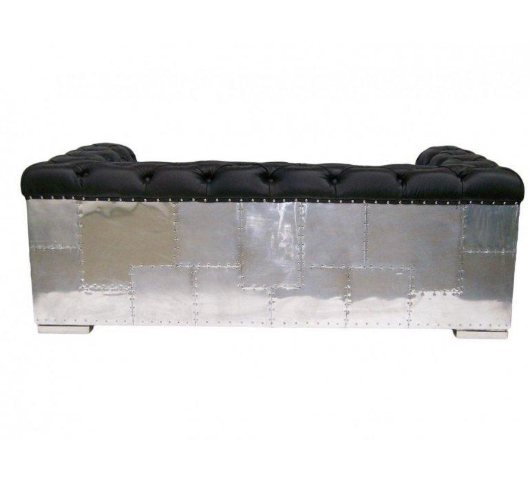 Canapé cuir noir et plaque aluminium moderne LEGENCY