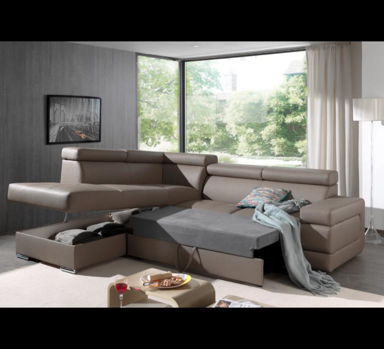 Canapé d'angle convertible PU taupe moderne VOGUE