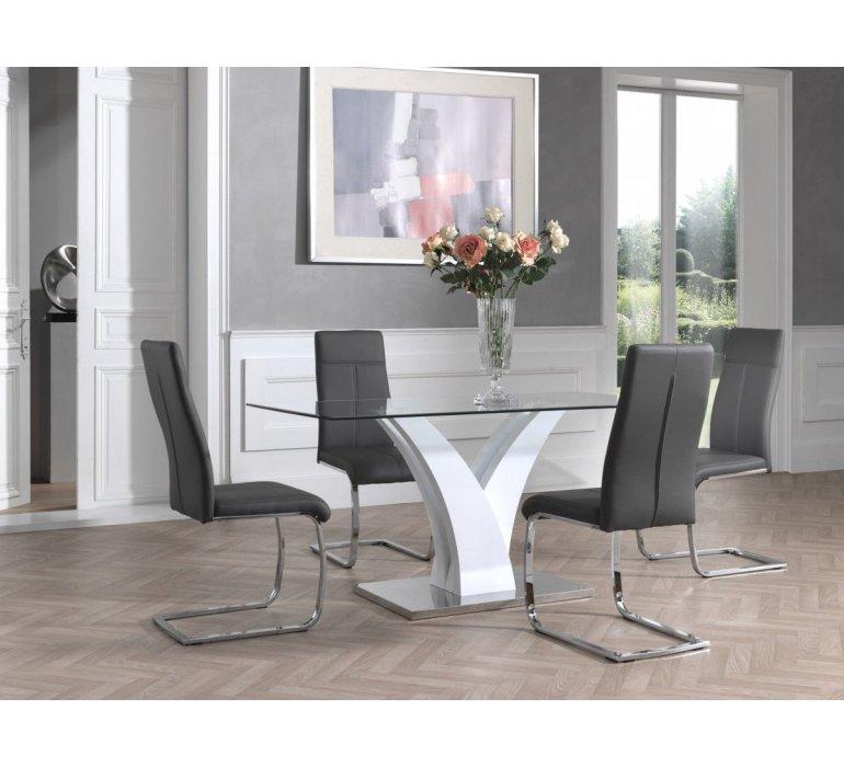 Table à manger verre et blanc laqué design KASSANDRA