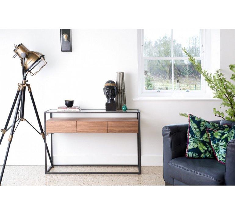 Console verre et bois style contemporain COVENTRY