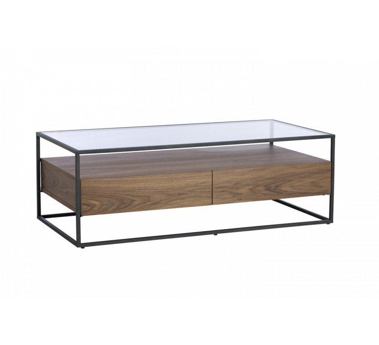 Table basse verre et bois style contemporain COVENTRY