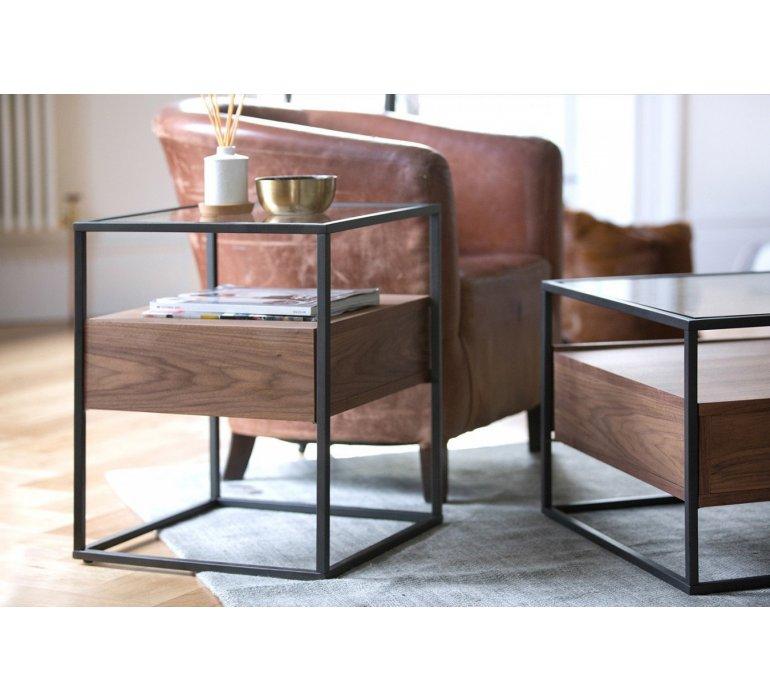 Bout de canapé verre et bois style contemporain COVENTRY