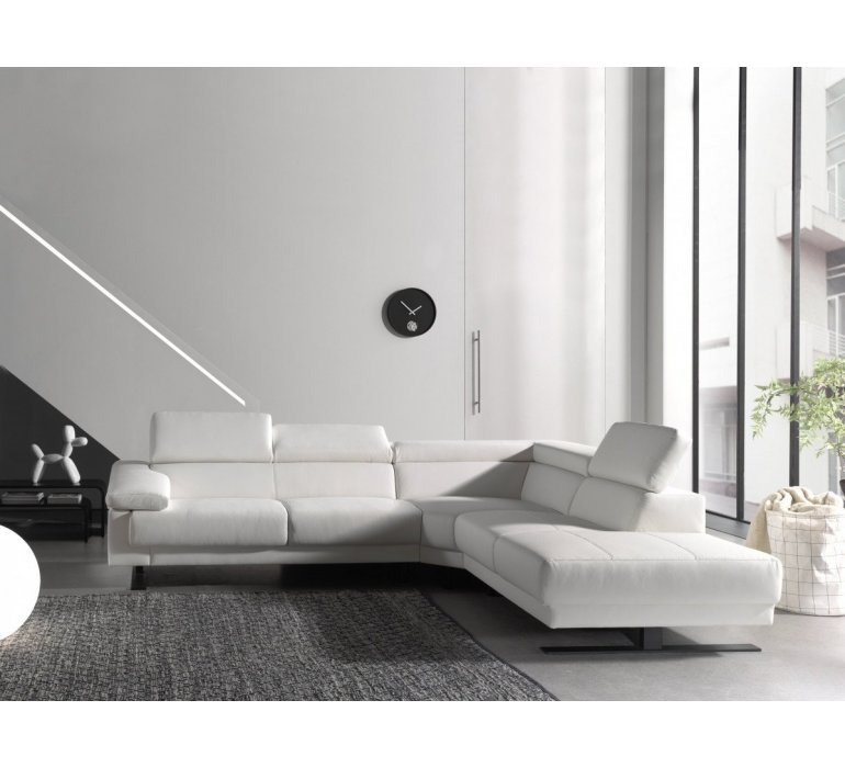 Canapé d'angle design PU blanc HARMONY