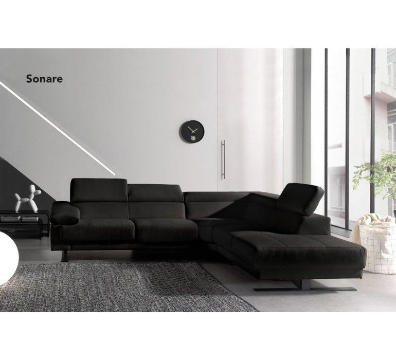 Canapé d'angle design PU noir SONARE