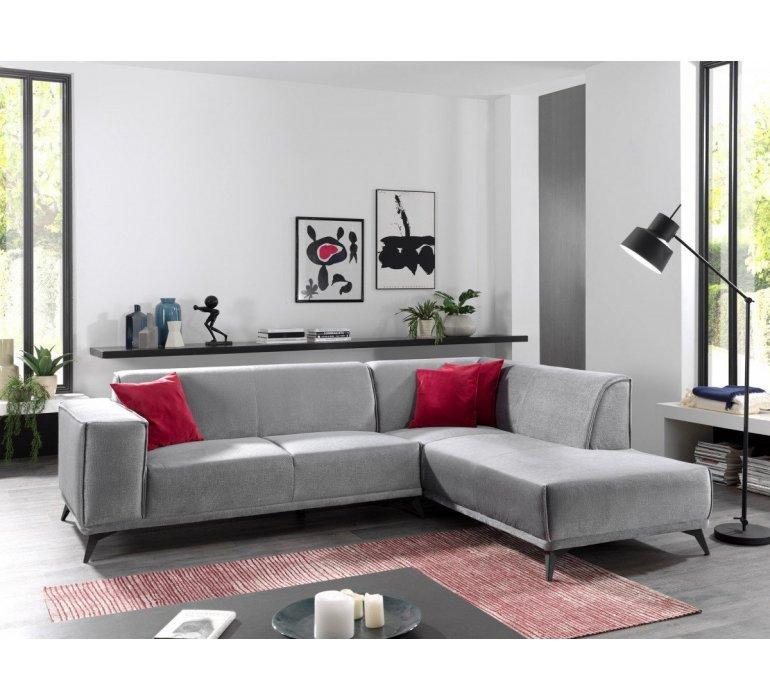 Canapé d'angle design tissu gris GRIGIO